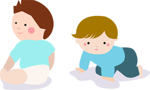 Illustration of an infant crawling